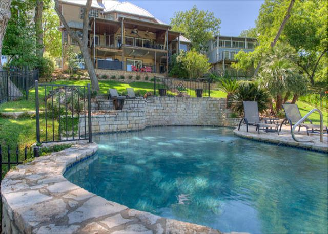 Lake house with two story boat dock hot tub with a view for 2 story lake house